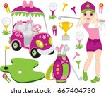Vector Golf Set With Girl...