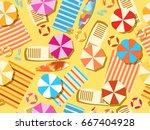 seamless beach  top view.... | Shutterstock .eps vector #667404928