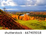 Stock photo autumn mountain river panoramic landscape 667405018