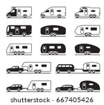 different caravans and campers  ... | Shutterstock .eps vector #667405426