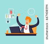 businessman is happy in the...   Shutterstock .eps vector #667408594