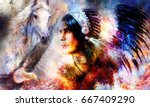 painting of a young indian... | Shutterstock . vector #667409290