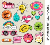 Stock vector set of fashion patches cute colorful badges fun cartoon icons design vector in motivation concept 667409368