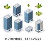set of modern isometric... | Shutterstock .eps vector #667414396