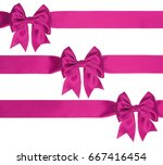 three pink satin bow with... | Shutterstock . vector #667416454