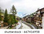 dramatic view of zermatt... | Shutterstock . vector #667416958