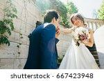 wonderful wedding couple on the ... | Shutterstock . vector #667423948