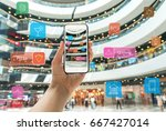 augmented reality marketing in... | Shutterstock . vector #667427014