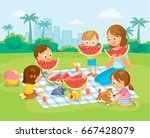 vector portrait mother and 4... | Shutterstock .eps vector #667428079