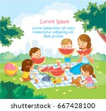 kids at the kinder garden... | Shutterstock .eps vector #667428100