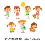 children playing and learning.... | Shutterstock .eps vector #667428109