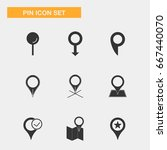 pin location icon set ... | Shutterstock .eps vector #667440070