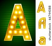 alphabet for signs with lamps.... | Shutterstock .eps vector #66744088