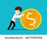 businessman rolls gold dollar... | Shutterstock .eps vector #667449436