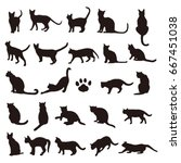 Stock vector set of cats silhouette 667451038