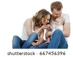 beautiful happy family isolated ... | Shutterstock . vector #667456396