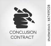 black flat icon of human hand...   Shutterstock .eps vector #667459228