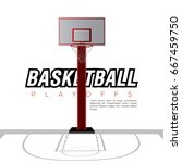 white basketball field with a... | Shutterstock .eps vector #667459750