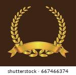 vector gold laurel wreath... | Shutterstock .eps vector #667466374
