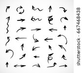 hand drawn arrows  vector set | Shutterstock .eps vector #667468438