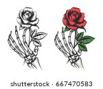 rose flower in human skeleton... | Shutterstock .eps vector #667470583