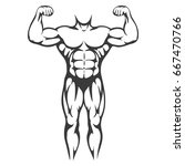 male body muscle black... | Shutterstock .eps vector #667470766