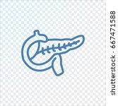 pancreas icon flat. | Shutterstock .eps vector #667471588