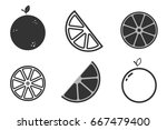 set orange icons  flat and... | Shutterstock .eps vector #667479400