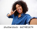 selfie portrait of happy woman... | Shutterstock . vector #667481674