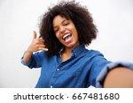 selfie portrait of happy woman...   Shutterstock . vector #667481680