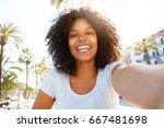 selfie portrait of cheerful... | Shutterstock . vector #667481698