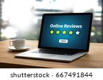 online reviews evaluation time... | Shutterstock . vector #667491844