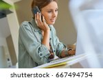 woman working from home on... | Shutterstock . vector #667494754