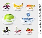 a set of fruits in milk. an... | Shutterstock .eps vector #667498300
