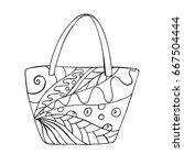 beach bag doodle with abstract... | Shutterstock .eps vector #667504444