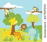 cute safari animals | Shutterstock .eps vector #667505593