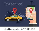 taxi at night concept. hands...   Shutterstock .eps vector #667508158