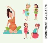 pregnancy motherhood people... | Shutterstock .eps vector #667515778