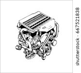the drawn engine on a white... | Shutterstock .eps vector #667521838