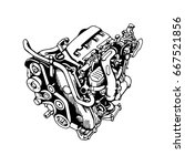 the drawn engine on a white... | Shutterstock .eps vector #667521856