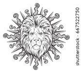 hand drawn lion head in sun...   Shutterstock .eps vector #667522750