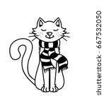 black and white cat. cat in a... | Shutterstock .eps vector #667532050