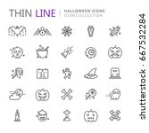 collection of halloween thin... | Shutterstock .eps vector #667532284
