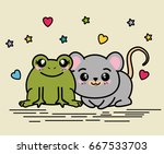 cute and lovely animals cartoon | Shutterstock .eps vector #667533703