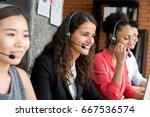 multiethnic business team... | Shutterstock . vector #667536574
