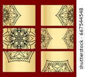 ornament round set with mandala.... | Shutterstock .eps vector #667544548