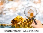 stacking coin growing and gold... | Shutterstock . vector #667546723