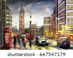 oil painting on canvas  street... | Shutterstock . vector #667547179