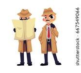 comic detective character... | Shutterstock .eps vector #667549066
