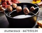 portions of tender beef cooked... | Shutterstock . vector #667550134